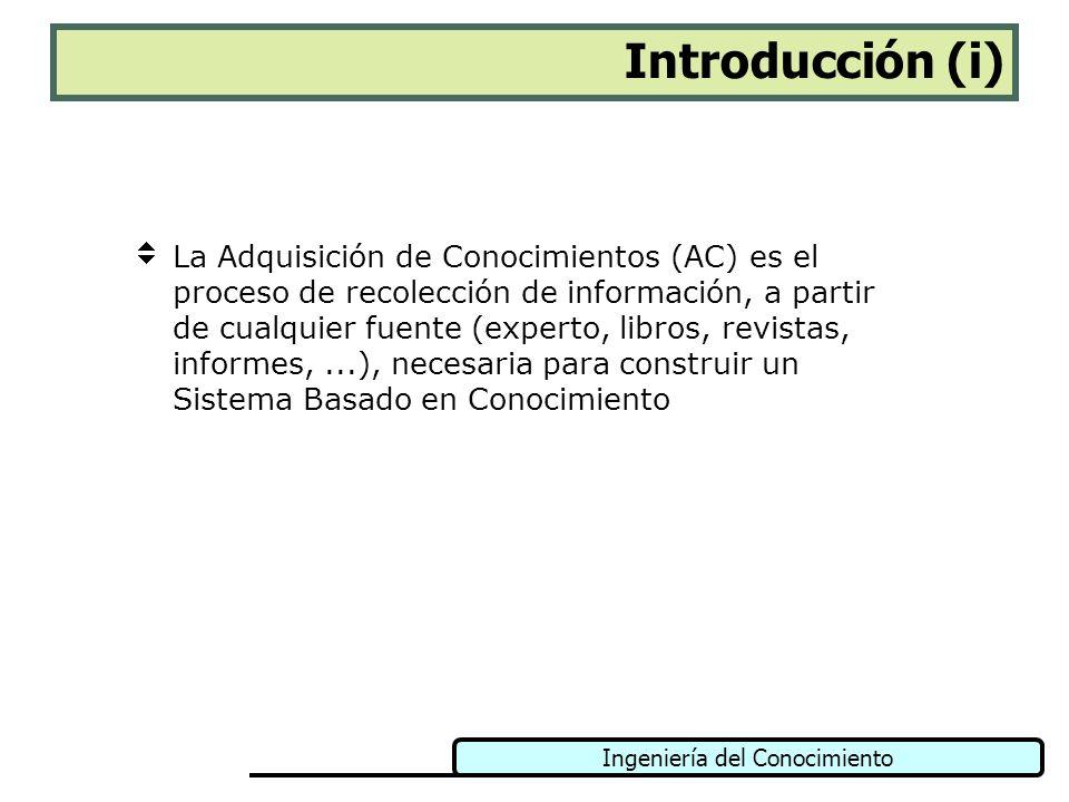 Ingeniería del Conocimiento Introducción (ii) La AC no es un paso concreto en la metodología de desarrollo de un SBC, sino más bien una tarea que se produce en paralelo a todas las etapas de construcción de estos sistemas (identificación, conceptualización, formalización, validación, mantenimiento,...).
