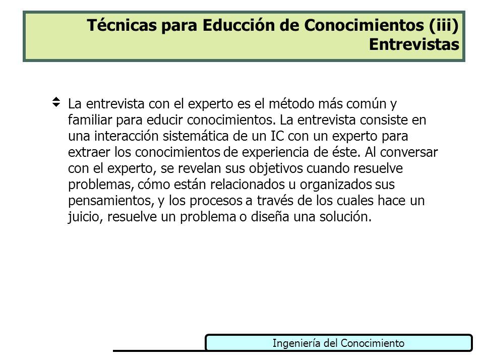 Ingeniería del Conocimiento Técnicas para Educción de Conocimientos (iii) Entrevistas La entrevista con el experto es el método más común y familiar p