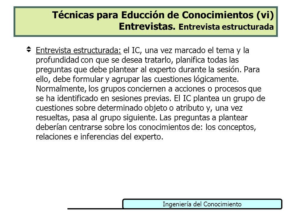 Ingeniería del Conocimiento Técnicas para Educción de Conocimientos (vi) Entrevistas. Entrevista estructurada Entrevista estructurada: el IC, una vez