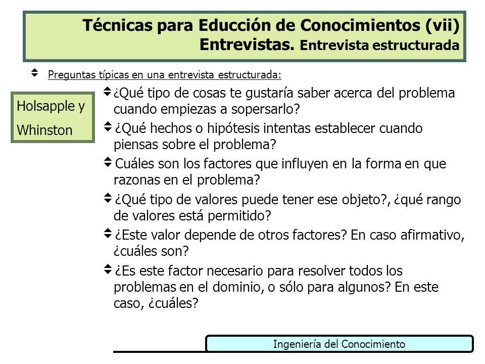 Ingeniería del Conocimiento Técnicas para Educción de Conocimientos (vii) Entrevistas. Entrevista estructurada Preguntas típicas en una entrevista est
