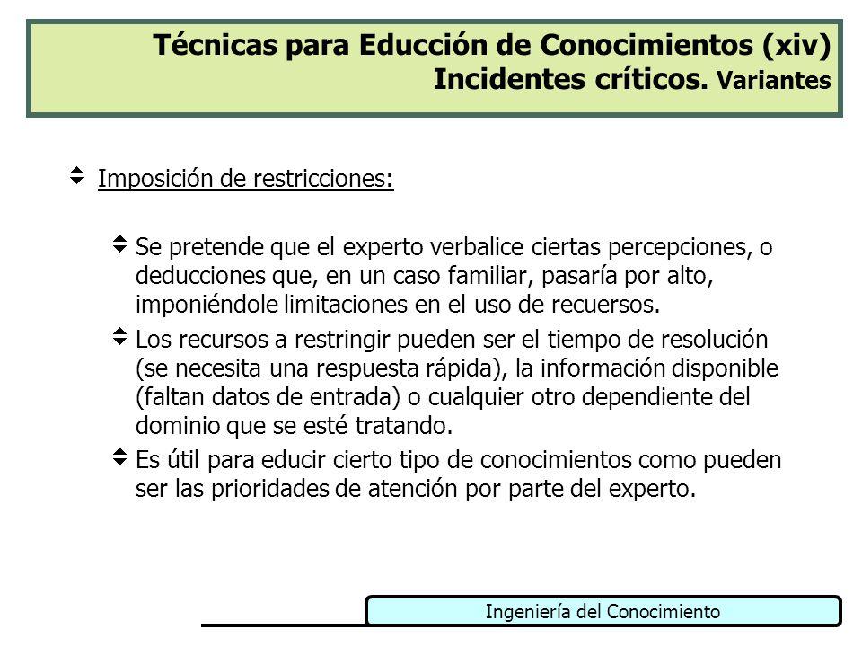 Ingeniería del Conocimiento Técnicas para Educción de Conocimientos (xiv) Incidentes críticos. Variantes Imposición de restricciones: Se pretende que