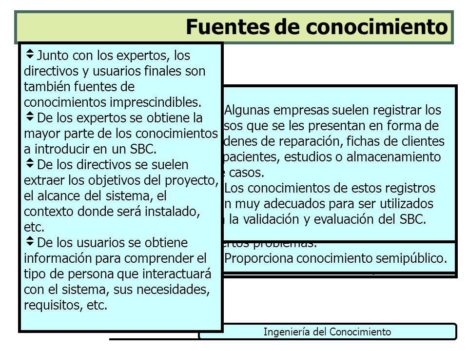 Ingeniería del Conocimiento Fuentes de conocimiento Libros y manuales Documentación formal Documentación informal Registros internos Presentaciones Pu