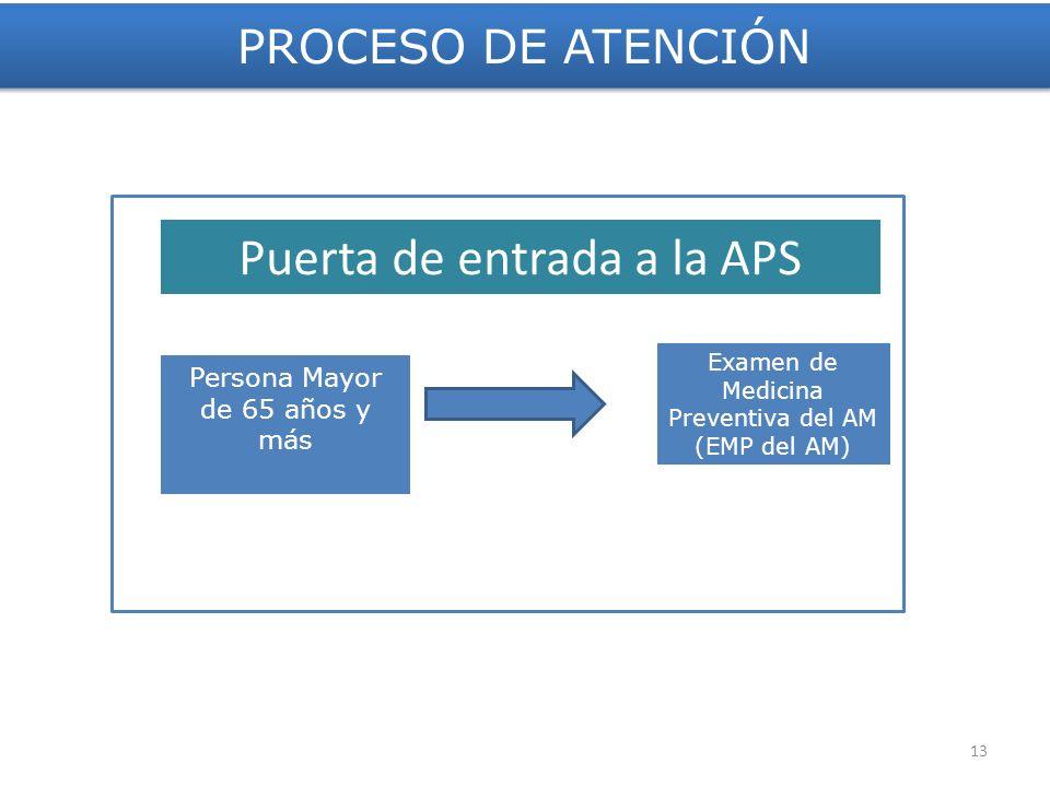 PROCESO DE ATENCIÓN Persona Mayor de 65 años y más Examen de Medicina Preventiva del AM (EMP del AM) 60 min Puerta de entrada a la APS 13