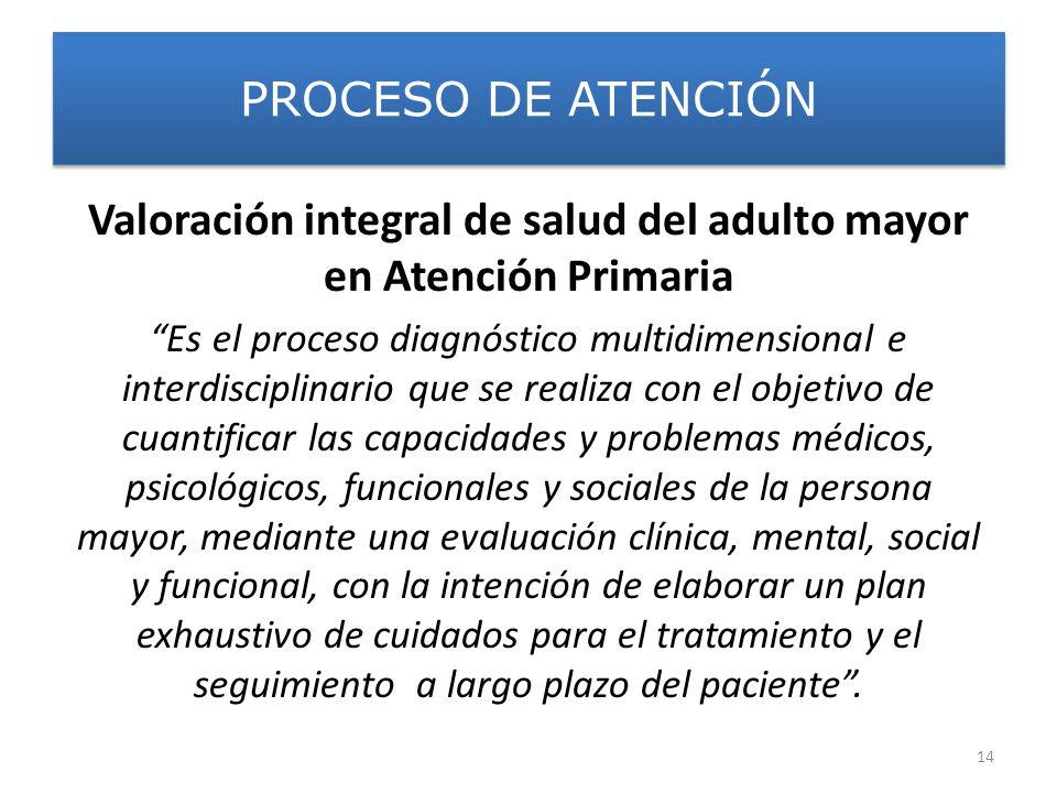 PROCESO DE ATENCIÓN Valoración integral de salud del adulto mayor en Atención Primaria Es el proceso diagnóstico multidimensional e interdisciplinario
