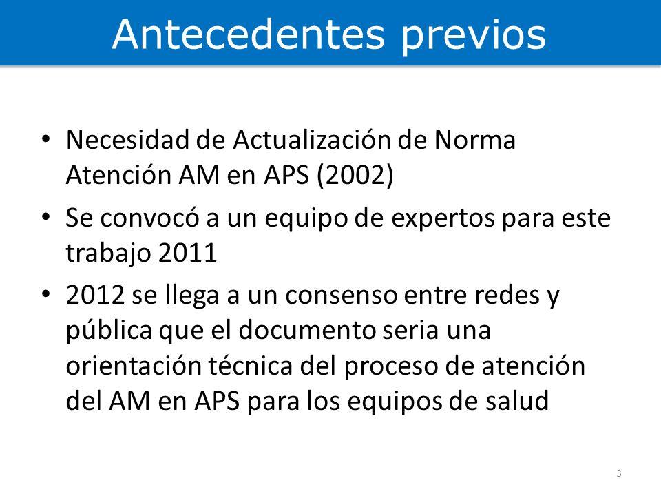 Antecedentes previos Necesidad de Actualización de Norma Atención AM en APS (2002) Se convocó a un equipo de expertos para este trabajo 2011 2012 se l