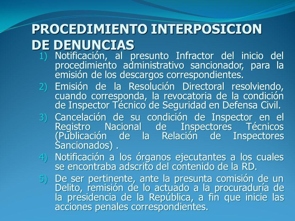 PROCEDIMIENTO INTERPOSICION DE DENUNCIAS 1) Notificación, al presunto Infractor del inicio del procedimiento administrativo sancionador, para la emisión de los descargos correspondientes.