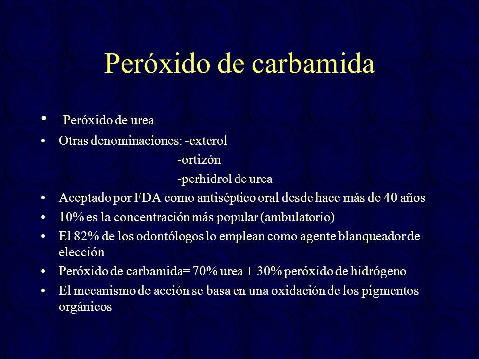 Peróxido de carbamida Peróxido de urea Otras denominaciones: -exterol -ortizón -perhidrol de urea Aceptado por FDA como antiséptico oral desde hace má