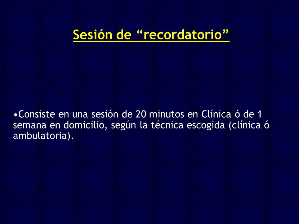 Consiste en una sesión de 20 minutos en Clínica ó de 1 semana en domicilio, según la técnica escogida (clínica ó ambulatoria). Sesión de recordatorio