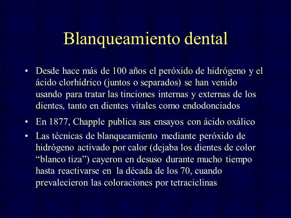 Blanqueamiento dental Desde hace más de 100 años el peróxido de hidrógeno y el ácido clorhídrico (juntos o separados) se han venido usando para tratar