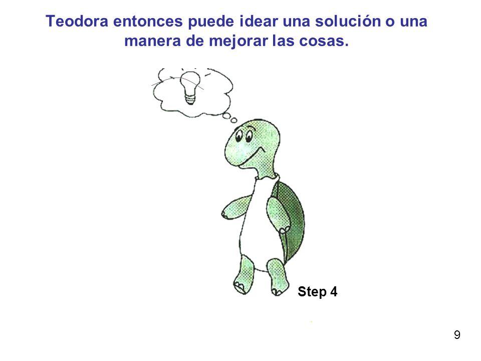 Teodora entonces puede idear una solución o una manera de mejorar las cosas. Step 4 9