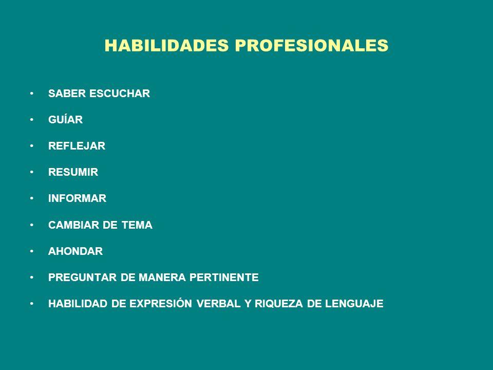 HABILIDADES PROFESIONALES SABER ESCUCHAR GUÍAR REFLEJAR RESUMIR INFORMAR CAMBIAR DE TEMA AHONDAR PREGUNTAR DE MANERA PERTINENTE HABILIDAD DE EXPRESIÓN VERBAL Y RIQUEZA DE LENGUAJE
