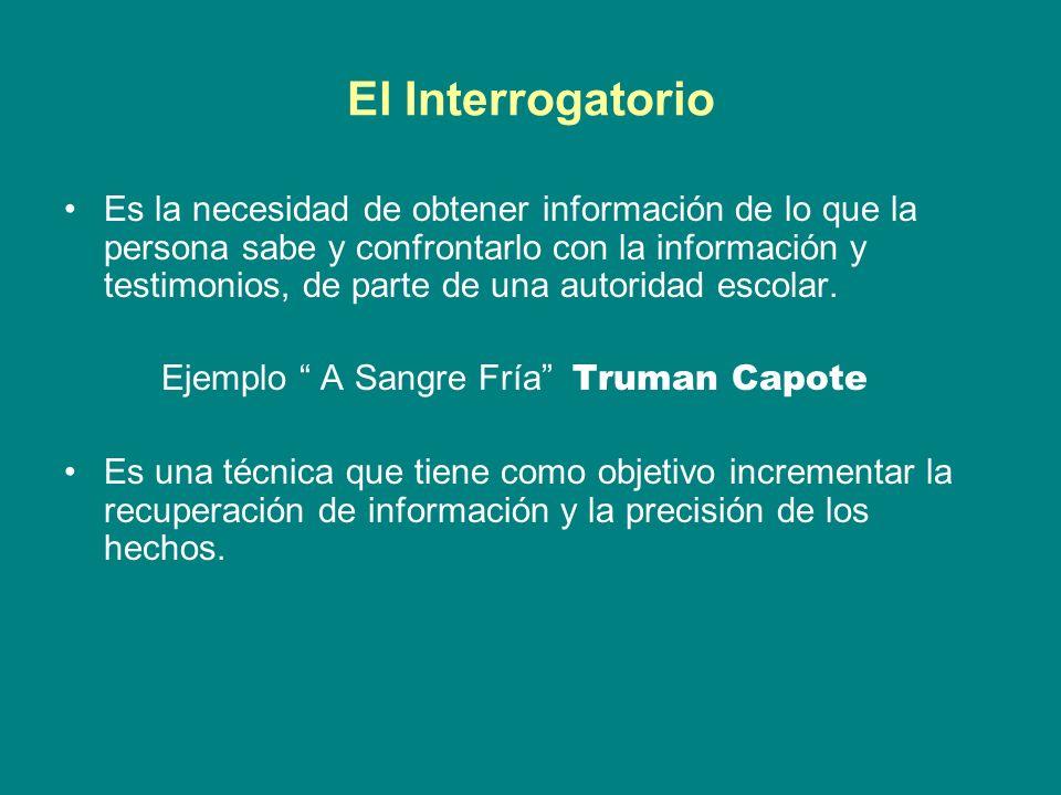 El Interrogatorio Es la necesidad de obtener información de lo que la persona sabe y confrontarlo con la información y testimonios, de parte de una autoridad escolar.