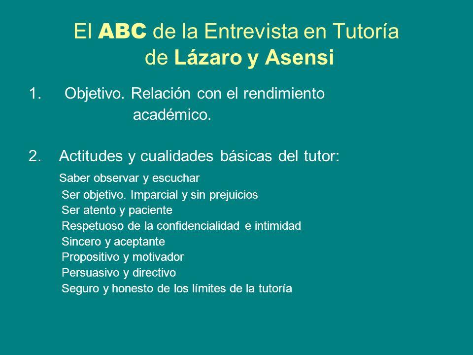 El ABC de la Entrevista en Tutoría de Lázaro y Asensi 1.