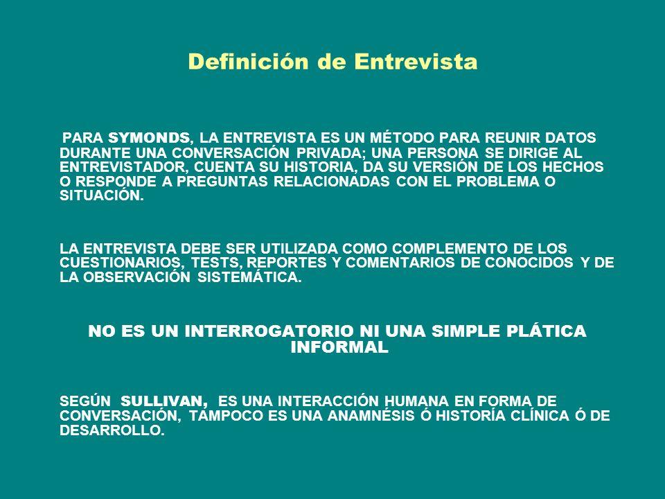 Definición de Entrevista PARA SYMONDS, LA ENTREVISTA ES UN MÉTODO PARA REUNIR DATOS DURANTE UNA CONVERSACIÓN PRIVADA; UNA PERSONA SE DIRIGE AL ENTREVISTADOR, CUENTA SU HISTORIA, DA SU VERSIÓN DE LOS HECHOS O RESPONDE A PREGUNTAS RELACIONADAS CON EL PROBLEMA O SITUACIÓN.