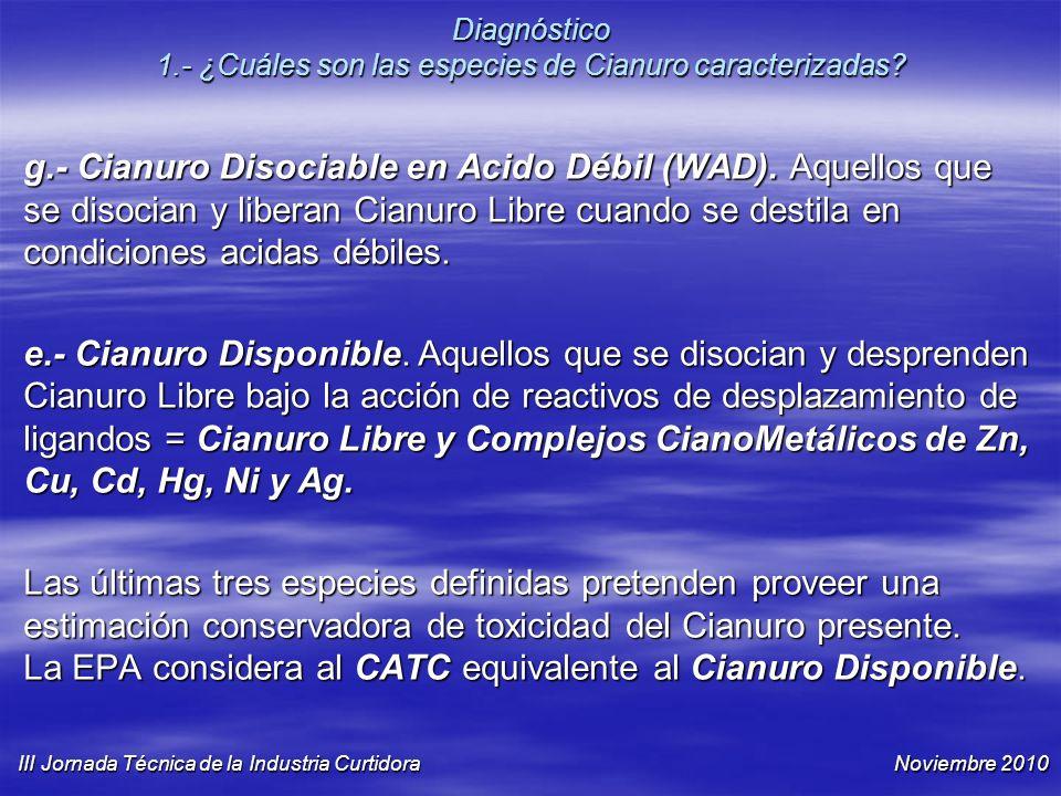Diagnóstico 1.- ¿Cuáles son las especies de Cianuro caracterizadas? g.- Cianuro Disociable en Acido Débil (WAD). Aquellos que se disocian y liberan Ci