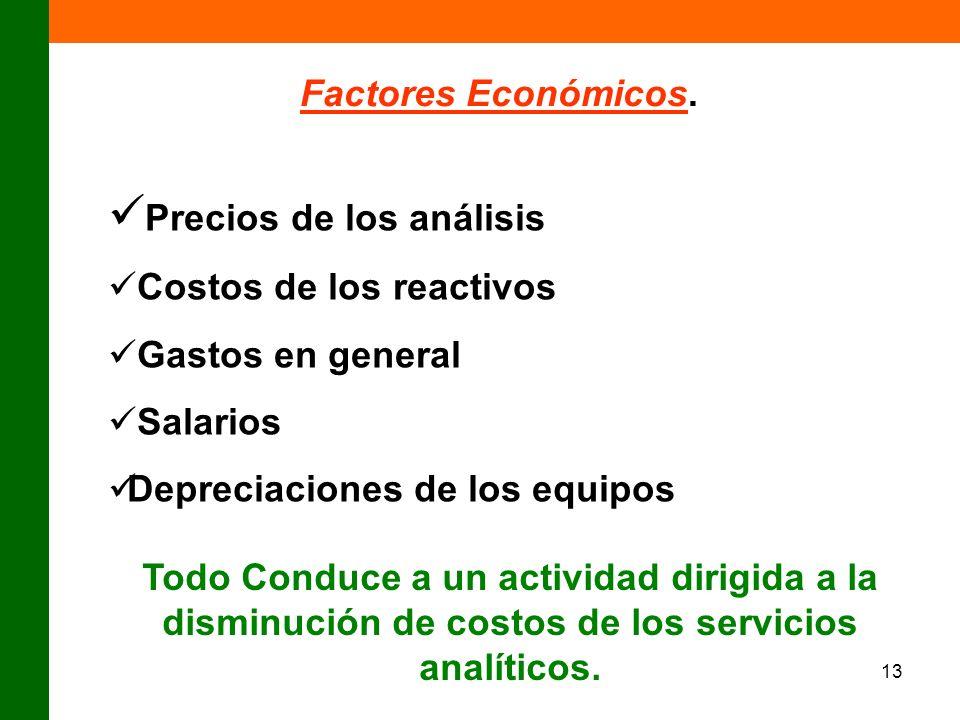 13 Factores Económicos. Precios de los análisis Costos de los reactivos Gastos en general Salarios Depreciaciones de los equipos Todo Conduce a un act