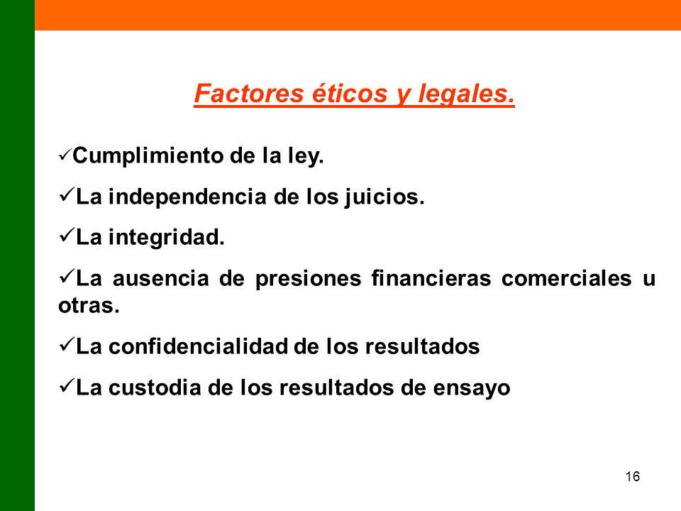 16 Factores éticos y legales. Cumplimiento de la ley. La independencia de los juicios. La integridad. La ausencia de presiones financieras comerciales