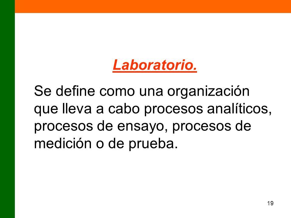 19 Laboratorio. Se define como una organización que lleva a cabo procesos analíticos, procesos de ensayo, procesos de medición o de prueba.