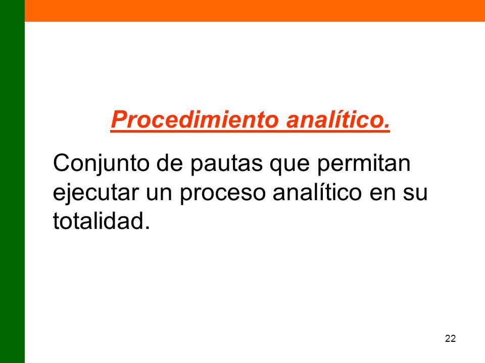 22 Procedimiento analítico. Conjunto de pautas que permitan ejecutar un proceso analítico en su totalidad.