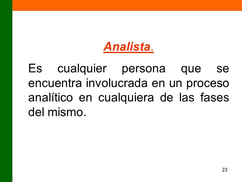 23 Analista. Es cualquier persona que se encuentra involucrada en un proceso analítico en cualquiera de las fases del mismo.