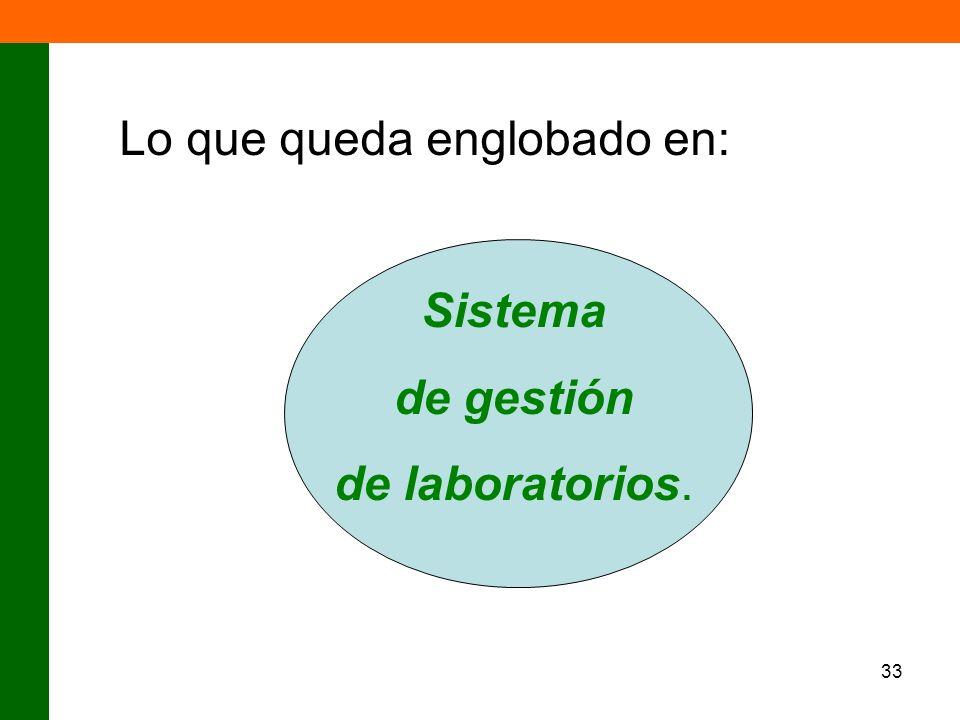 33 Lo que queda englobado en: Sistema de gestión de laboratorios.