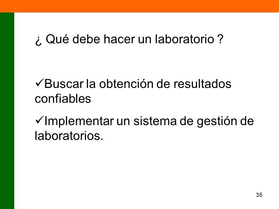 35 ¿ Qué debe hacer un laboratorio ? Buscar la obtención de resultados confiables Implementar un sistema de gestión de laboratorios.