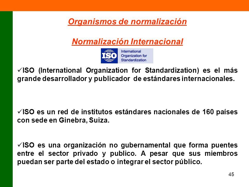 45 Organismos de normalización Normalización Internacional ISO (International Organization for Standardization) es el más grande desarrollador y publi