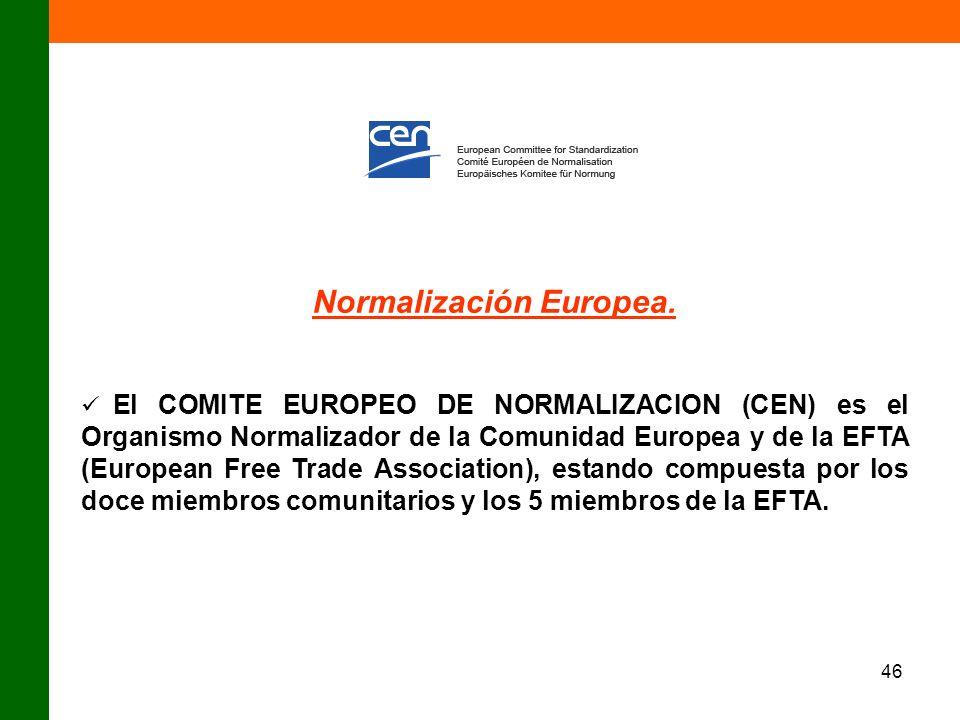 46 Normalización Europea. El COMITE EUROPEO DE NORMALIZACION (CEN) es el Organismo Normalizador de la Comunidad Europea y de la EFTA (European Free Tr