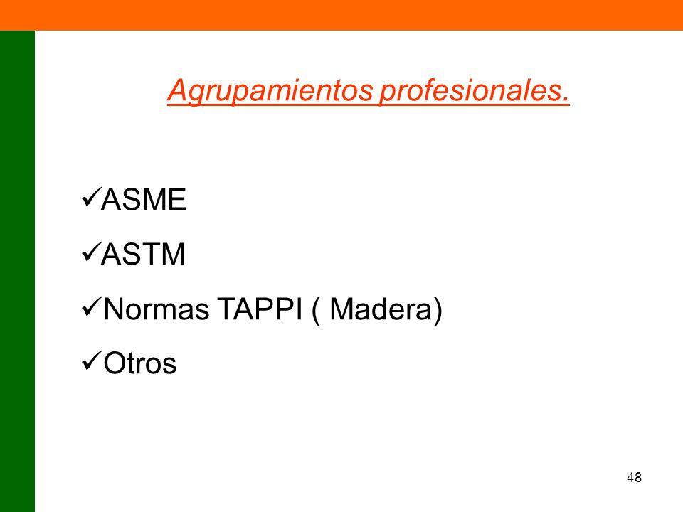 48 Agrupamientos profesionales. ASME ASTM Normas TAPPI ( Madera) Otros