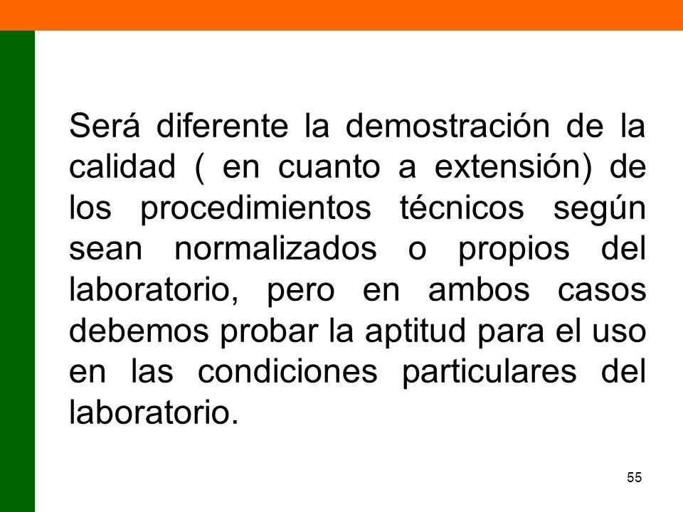 55 Será diferente la demostración de la calidad ( en cuanto a extensión) de los procedimientos técnicos según sean normalizados o propios del laborato