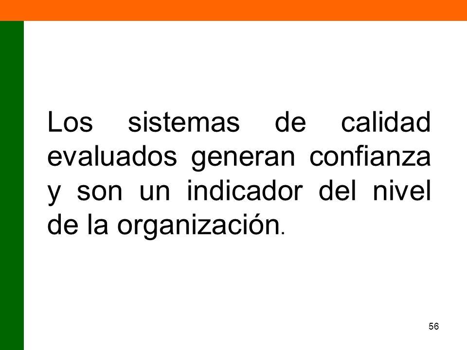 56 Los sistemas de calidad evaluados generan confianza y son un indicador del nivel de la organización.