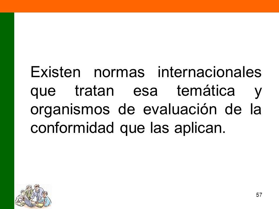 57 Existen normas internacionales que tratan esa temática y organismos de evaluación de la conformidad que las aplican.