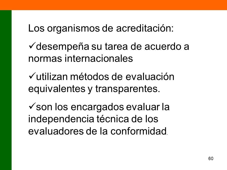 60 Los organismos de acreditación: desempeña su tarea de acuerdo a normas internacionales utilizan métodos de evaluación equivalentes y transparentes.