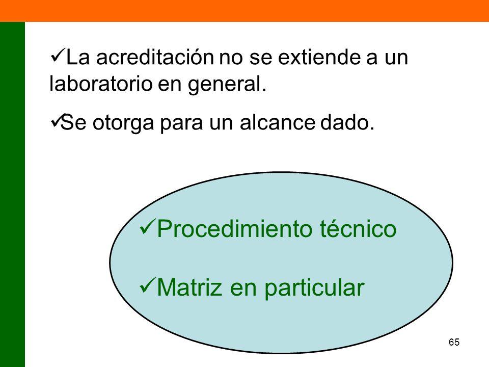 65 La acreditación no se extiende a un laboratorio en general. Se otorga para un alcance dado. Procedimiento técnico Matriz en particular