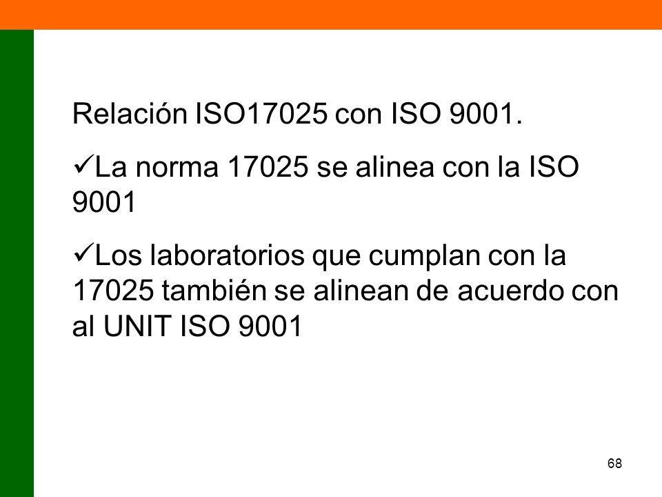 68 Relación ISO17025 con ISO 9001. La norma 17025 se alinea con la ISO 9001 Los laboratorios que cumplan con la 17025 también se alinean de acuerdo co