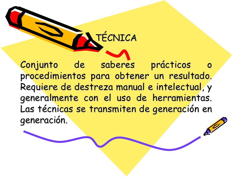TÉCNICA Conjunto de saberes prácticos o procedimientos para obtener un resultado. Requiere de destreza manual e intelectual, y generalmente con el uso