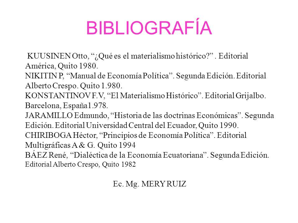 KUUSINEN Otto, ¿Qué es el materialismo histórico?. Editorial América, Quito 1980. NIKITIN P, Manual de Economía Política. Segunda Edición. Editorial A