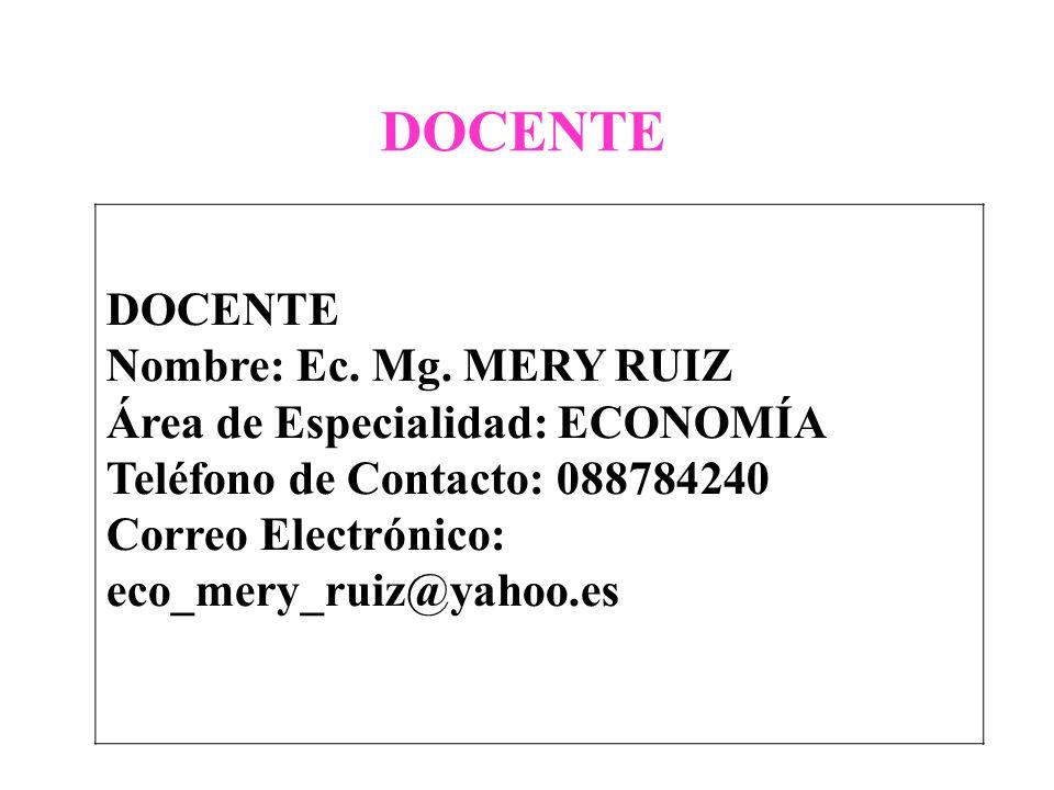 DOCENTE Nombre: Ec. Mg. MERY RUIZ Área de Especialidad: ECONOMÍA Teléfono de Contacto: 088784240 Correo Electrónico: eco_mery_ruiz@yahoo.es DOCENTE