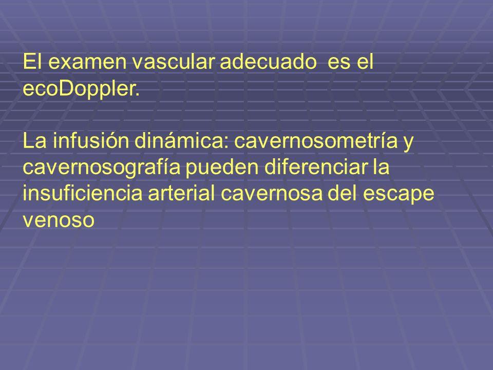 El examen vascular adecuado es el ecoDoppler. La infusión dinámica: cavernosometría y cavernosografía pueden diferenciar la insuficiencia arterial cav