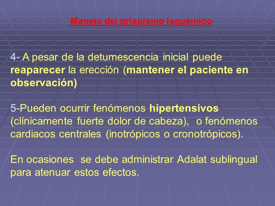 Manejo del priapismo isquémico 4- A pesar de la detumescencia inicial puede reaparecer la erección (mantener el paciente en observación) 5-Pueden ocur