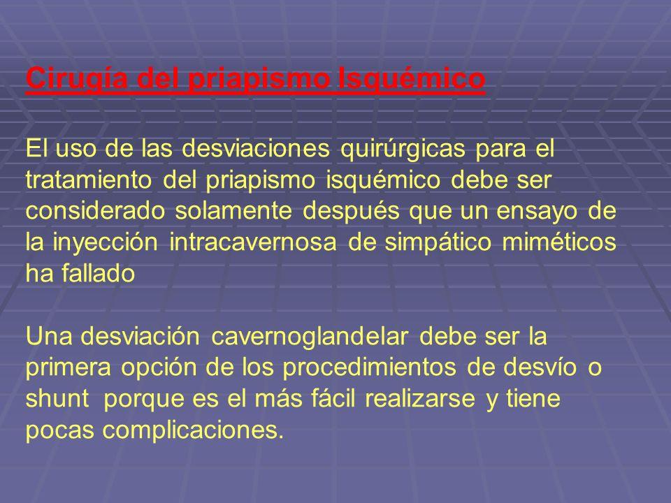 Cirugía del priapismo Isquémico El uso de las desviaciones quirúrgicas para el tratamiento del priapismo isquémico debe ser considerado solamente desp
