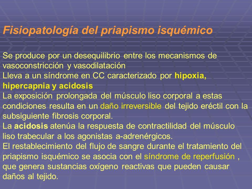 Fisiopatología del priapismo isquémico Se produce por un desequilibrio entre los mecanismos de vasoconstricción y vasodilatación Lleva a un síndrome e