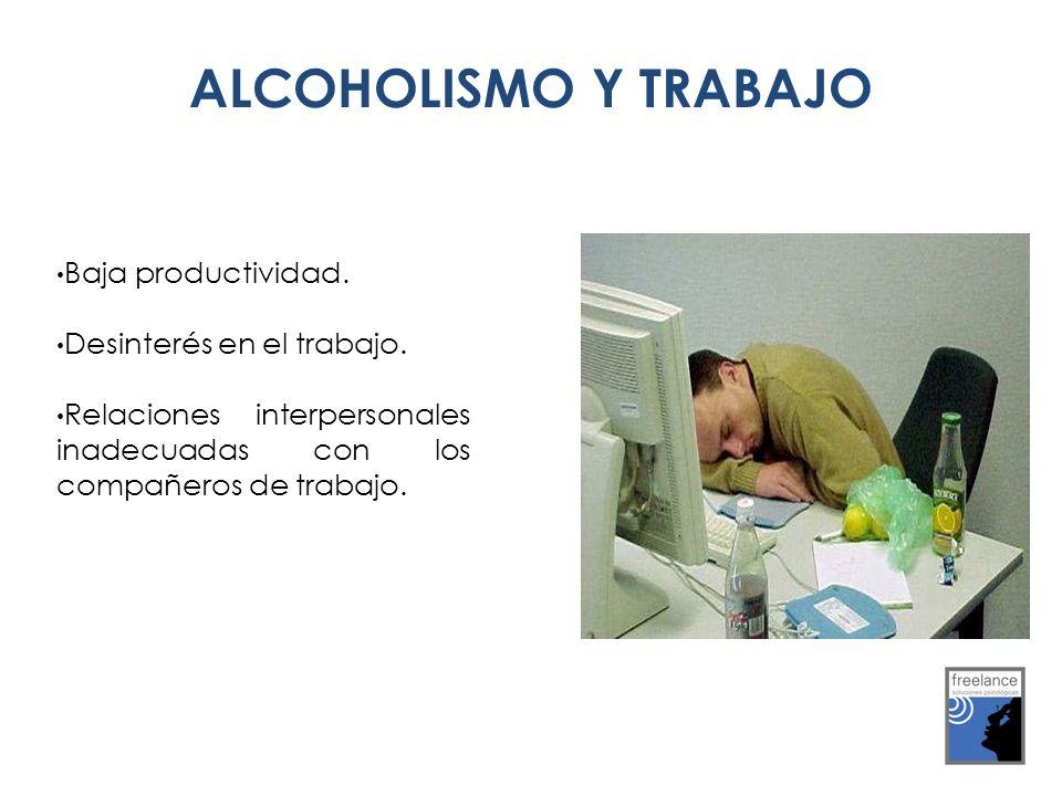 ALCOHOLISMO Y TRABAJO ALCOHOLISMO Y TRABAJO Baja productividad. Desinterés en el trabajo. Relaciones interpersonales inadecuadas con los compañeros de