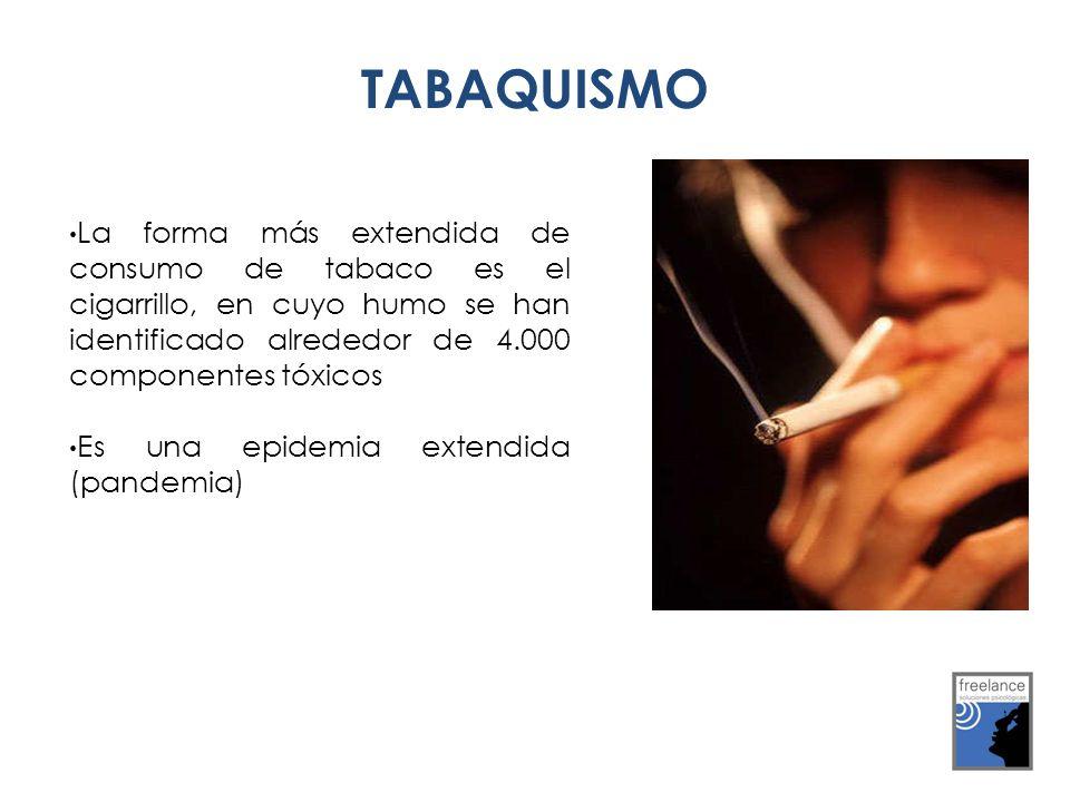 La forma más extendida de consumo de tabaco es el cigarrillo, en cuyo humo se han identificado alrededor de 4.000 componentes tóxicos Es una epidemia