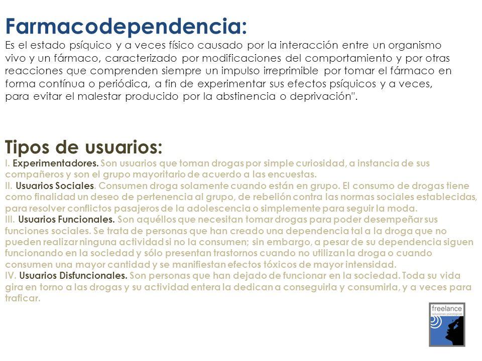 Farmacodependencia: Es el estado psíquico y a veces físico causado por la interacción entre un organismo vivo y un fármaco, caracterizado por modifica