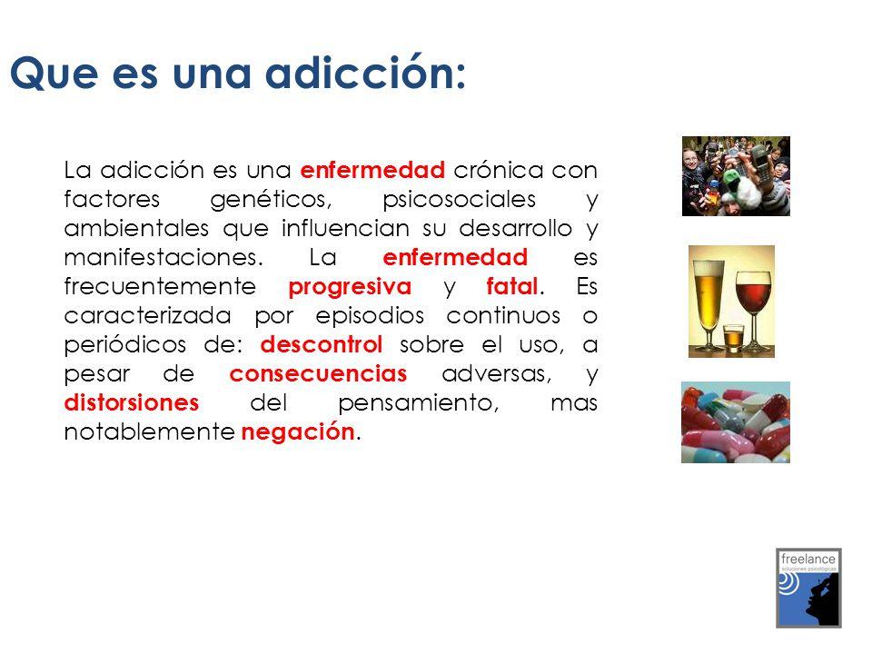 La adicción es una enfermedad crónica con factores genéticos, psicosociales y ambientales que influencian su desarrollo y manifestaciones. La enfermed