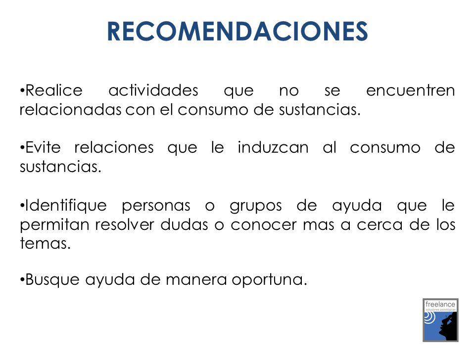 RECOMENDACIONES Realice actividades que no se encuentren relacionadas con el consumo de sustancias. Evite relaciones que le induzcan al consumo de sus