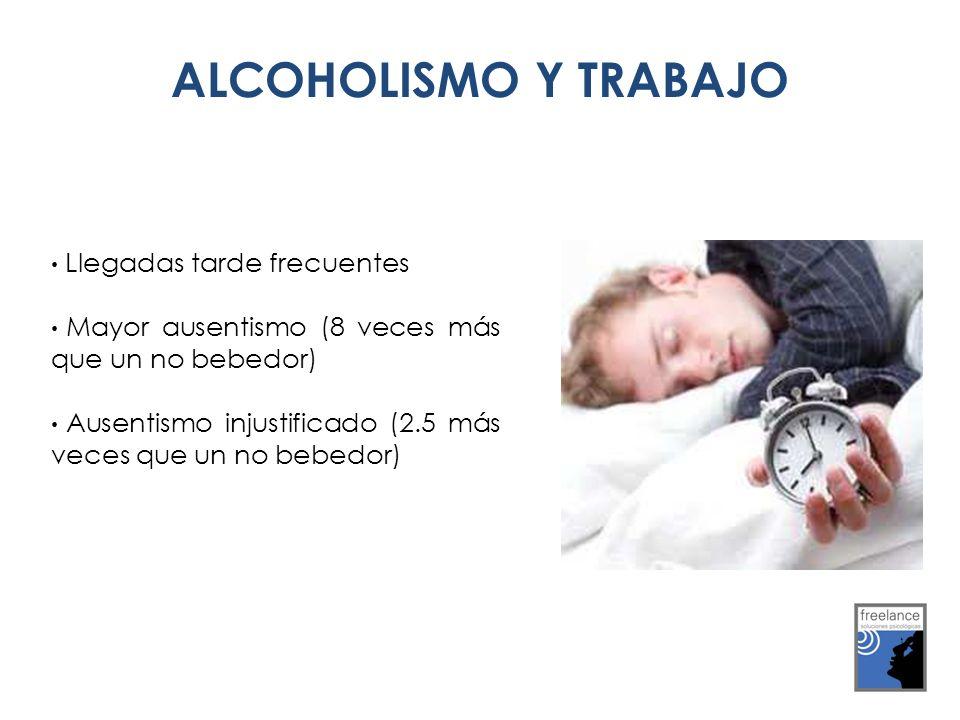 Llegadas tarde frecuentes Mayor ausentismo (8 veces más que un no bebedor) Ausentismo injustificado (2.5 más veces que un no bebedor) ALCOHOLISMO Y TR