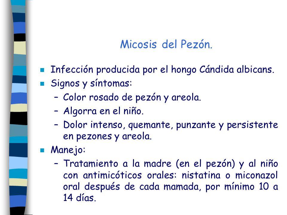 Micosis del Pezón. n Infección producida por el hongo Cándida albicans. n Signos y síntomas: –Color rosado de pezón y areola. –Algorra en el niño. –Do