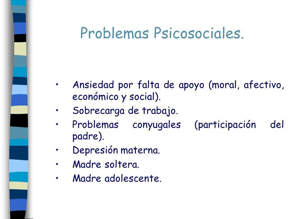 Problemas Psicosociales. Ansiedad por falta de apoyo (moral, afectivo, económico y social). Sobrecarga de trabajo. Problemas conyugales (participación